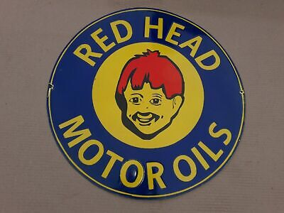 $ CDN376.60 • Buy Porcelain Red Head Enamel Sign Size 20  Inches Round