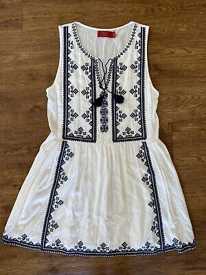 AU28 • Buy Tigerlily Womens Size 6 White Dress With Black Embroidered Details 100% Viscose