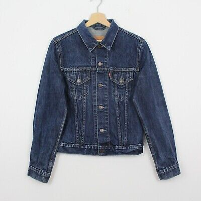 AU14.29 • Buy Z0 Vtg Levi Strauss 70590 Women 90s Denim Trucker Jacket Blue Size S/M
