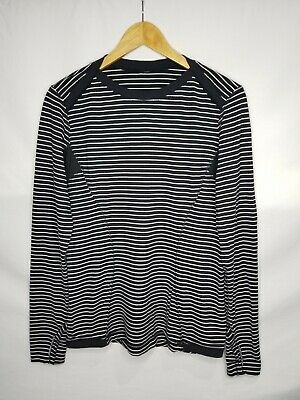 $ CDN55 • Buy Lululemon Athletica Womens Rulu Long Sleeve Shirt Size 12 XL Black White Striped