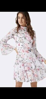 AU69.99 • Buy FOREVER NEW PRINTED ARCHIE FLARE SLEEVE WHITE FLORAL DRESS SZ 10 Wedding Party
