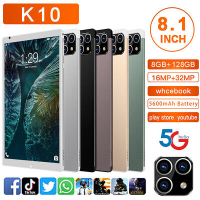 AU85.08 • Buy K10 8.1'' HD 5G Smart Tablet PC Android 11.0 System 8G+128G W/ 3 Lens Camera UK