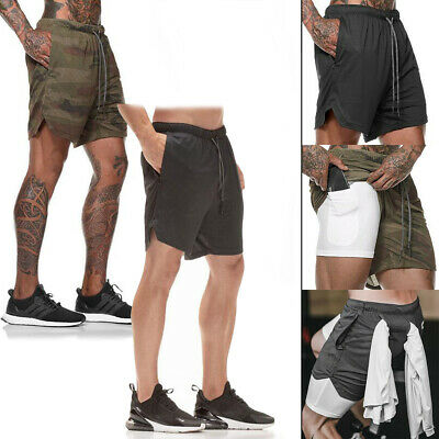 Men 2 In 1 Sports Shorts Gym Training Fitness Bottoms With Pockets Pants Boys • 4.99£