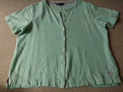 AU11.18 • Buy Crew Clothing Ladies Top. Size 16. Green Stripe. Button Up. Linen.