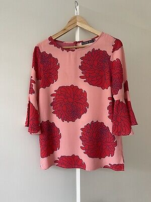 AU55 • Buy MISTER ZIMI Floral Frilled Sleeve Women's Top Size 6 Excellent Condition!