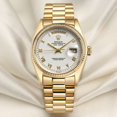 £12750 • Buy Rolex Day-Date 18038 White Roman Dial 18k Yellow Gold
