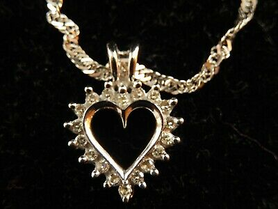 AU53.59 • Buy 9ct White Gold Diamond Heart Pendant And 9ct White Gold 18 Inch Chain