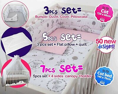 £22.99 • Buy 3,5,7 Pcs Set BABY BEDDING NURSERY SET FIT COT OR COT BED - BUMPER+COVERS + More