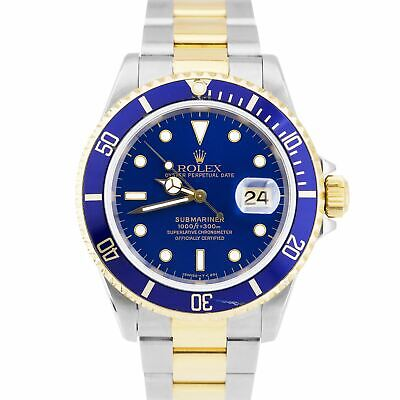 $ CDN11897.25 • Buy UNPOLISHED 1996 Rolex Submariner Date Two-Tone Stainless Blue 40mm Watch 16613