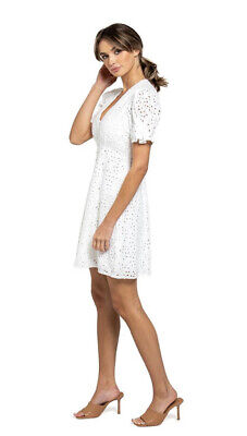 AU30 • Buy Forever New White Saffron Mini Day Dress Size 6