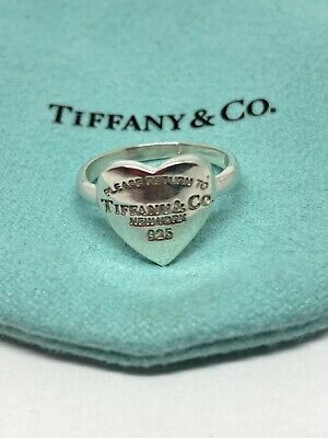 £144.14 • Buy Tiffany & Co Heart Ring 925 Sterling Silver Please Return To Tiffany New York