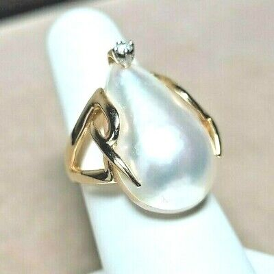 $400 • Buy $700 14k Pearl And Diamond Ring Mabe Pearl 14K SOLID Gold DESIGNER Sz 6.75