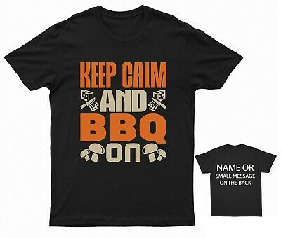 £11.95 • Buy Keep Calm And Bbq On BBQ T-shirt Funny Quote Holiday Gift