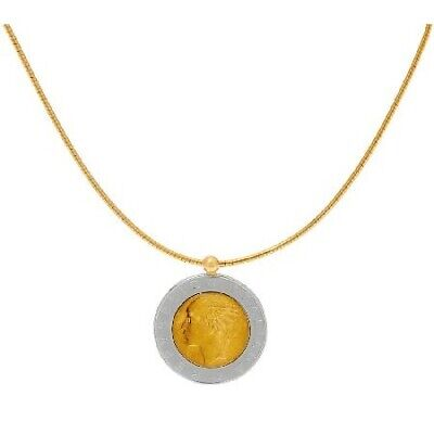 $ CDN20.68 • Buy QVC Bronze Italia 500 Lire Coin 14K Yellow Gold Over Omega Necklace