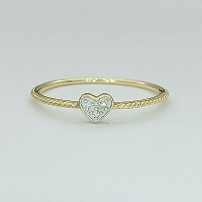 AU99 • Buy Ladies Ring 9ct (375, 9K) Yellow Gold Diamond Chip Twisted Rope Heart Dress Ring