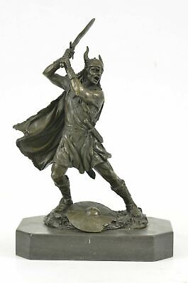 £158.56 • Buy 10  NEW VIKING WARRIOR Ready To Fight Statue / Sculpture Real Solid Bronze Deal