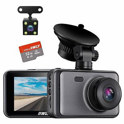 AU87.30 • Buy Dash Cam For Cars Front And Rear 【SD Card Included】Dual Cameras FHD 1080P