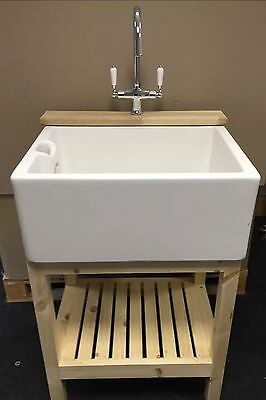 £525 • Buy Complete Set , Wooden Stand , Belfast Sink & Lever Tap - Ideal Utility /Kitchen