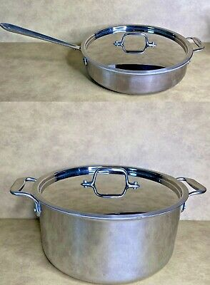 $ CDN187.43 • Buy All-Clad Stainless Steel *Lot Of 3* 8qt Stock Pot Dutch Oven & 4 Qt Saucepan EUC