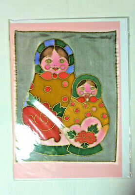 £1.99 • Buy Blank Greeting Card  Hand Painted On Silk  Russian Dolls (4)   NEW