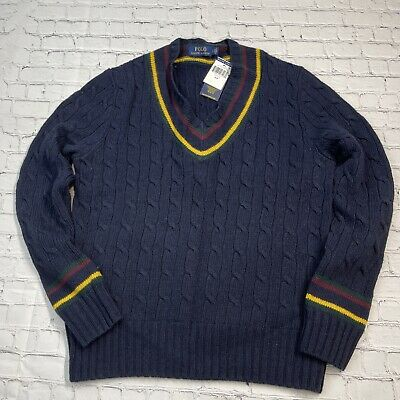 $185 • Buy Polo Ralph Lauren Men's Cable Knit V-Neck Cricket Sweater Size S