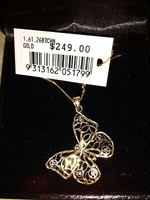 AU160 • Buy 9ct Yellow & White Gold Butterfly/ 9ct Gold Chain/ Necklace