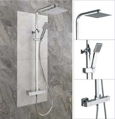 £72.99 • Buy Thermostatic Exposed Shower Mixer Bathroom Twin Head Large Square Bar Set Chrome
