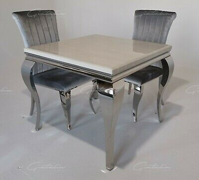 £299.99 • Buy Liyania 90cm Black/Grey/Ivory-Cream/White Marble Chrome Dining Table And Chairs