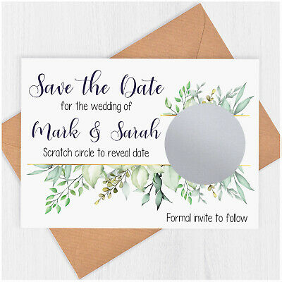 £19.90 • Buy PERSONALISED Save The Date Scratch Card Eucalyptus Rustic Wedding Invitations