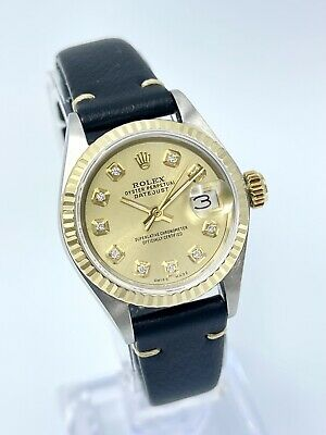 $ CDN4309.42 • Buy  Ladies Rolex Datejust 26mm Gold Diamond Dial 6917 Two Tone With Leather Strap