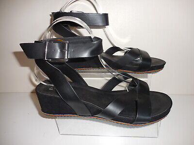 Black Strappy Wedge Sandal/ Shoes Size 7 Uk Wide Eee Bnwt From Evans Rrp £36 • 19.99£
