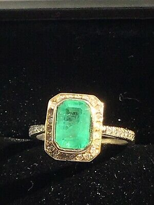 £450 • Buy 1.30ct Colombian Emerald And Diamond Halo Ring 9ct White Gold Size K