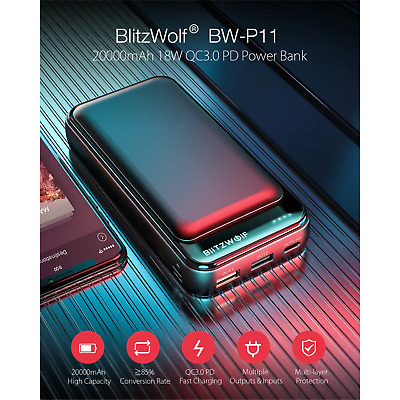 AU41.71 • Buy BlitzWolf 20000mAh Power Bank Portable Battery Phone Charger 3 Ports Fast Charge