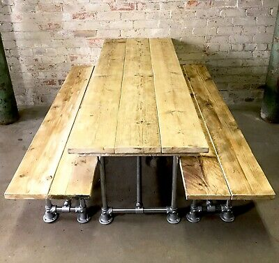 £584.10 • Buy Industrial Reclaimed Scaffold Board Dining Table & 2 Benches Steel Legs 7 Feet