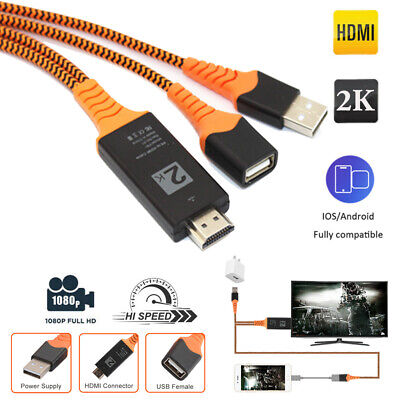 $ CDN10.87 • Buy HDMI Mirroring AV Cable Phone To TV HDTV Adapter Universal IPhone Android USB-C