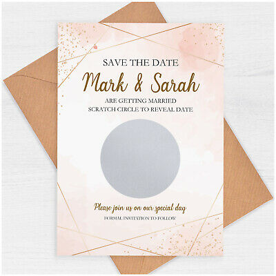 £0.99 • Buy PERSONALISED Blush Pink Gold Save The Date Scratch Cards 50 Wedding Stationery