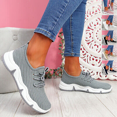 $ CDN17.29 • Buy Womens Ladies Knit Running Trainers Sneakers Sports Women Lace Shoes Size Uk