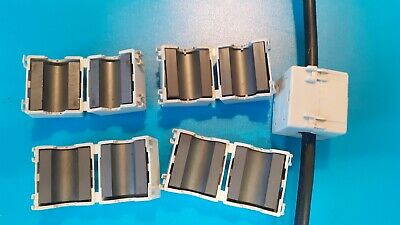 £6 • Buy 5 X 11mm Clip On Ferrite Cores For Noise Suppression, Filter Out RFI EMI White.