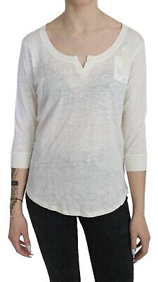 $19 • Buy MAJESTICFILATURES Top Linen White Boat Neck Long Sleeve Blouse IT2 / S RRP $180