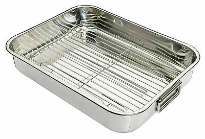 £12.99 • Buy Stainless Steel Roasting Oven Pan Dish Meat Baking Roaster Tin Grill Rack Tray