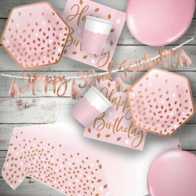 £3.49 • Buy Rose Gold Blush Pink Party Tableware, Decorations And Balloons