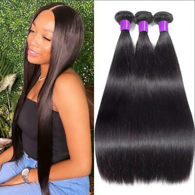 £14.01 • Buy Straight 3 Pcs Peruvian Human Hair Wefts Natural Color 100% Remy Hair Extensions