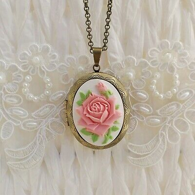 £22 • Buy Victorian Cameo Locket Pink Rose Pendant Necklace Antique Bronze Gold Floral Box
