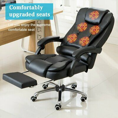 AU138.99 • Buy Massage Office Chair Executive Computer Gaming Leather Recliner With Footrest