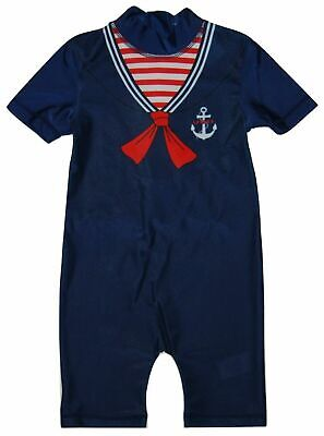 £2.09 • Buy BRAND NEW BOYS NAUTICAL SAILOR ALL IN ONE SUN SAFE SWIMSUIT AGE 18-24 Up To 4-5