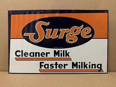 $175 • Buy Vintage Surge Milk Sign Cleaner Faster Farm Cow Dairy Wall Decor NOS