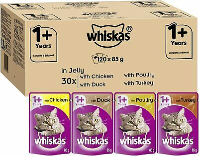 £34.98 • Buy 120 X Whiskas 1+ Cat Food Pouches Mixed Selection In Jelly Chicken Duck 85 G NEW