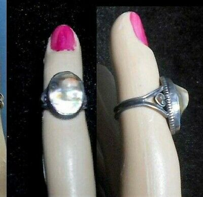 $33.90 • Buy Antique Mabe Blister Pearl Ring Marked Sterling,Dark Patina Raised Curlicues 3.5