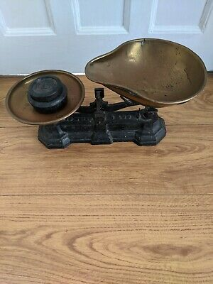 £22 • Buy Vintage Antique Black Kitchen Weighing Scales Casting Iron Base & Weights Rustic
