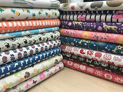 £9.99 • Buy   Cotton Canvas Upholstery Fabric Prints 140cm Wide Craft Curtains Blinds Kids